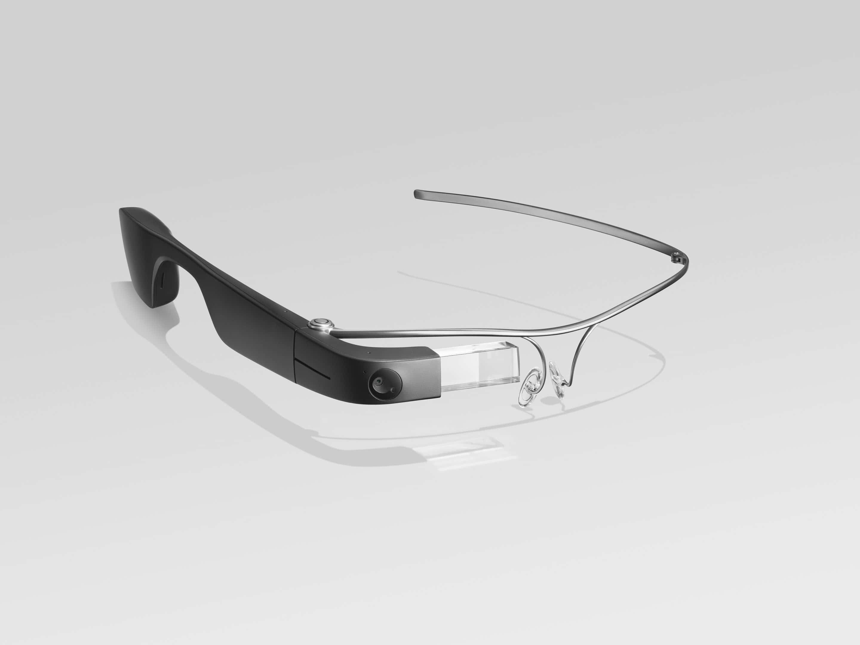 Photo of Envision Glasses with the standard titanium frames; the frames are very lightweight metal just a few millimetres wide